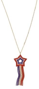 "Betsey Johnson Star Fringe Pendant Necklace in Gold-tone Metal, 24"" + 3"" Extender"