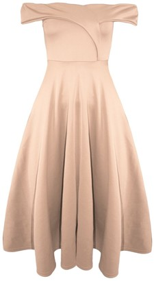 Oops Womens Wrap Over Flared Bardot Swing Off The Shoulder Skater Midi Dresses Nude