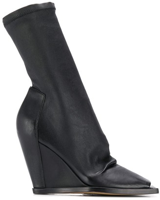 Rick Owens Open-Toe Wedge Booties