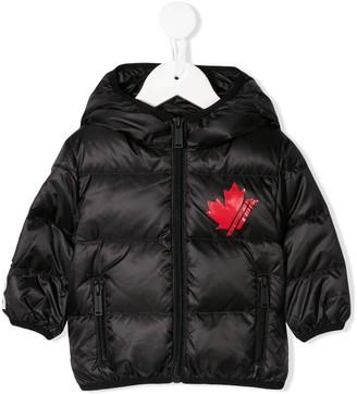 DSQUARED2 logo hooded coat