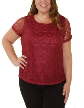 NY Collection Women's Plus Size Short Sleeve Round Neck Lace Pullover