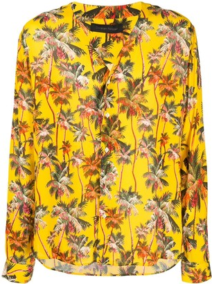 Christian Pellizzari Palm Tree Print Collarless Shirt