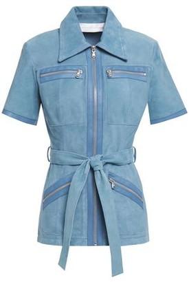 Victoria Victoria Beckham Belted Zip-detailed Suede Shirt