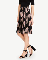 Ann Taylor Fan Floral Side Tie Pleated Skirt