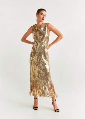 MANGO Sequins fringed dress gold - 4 - Women
