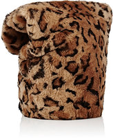 Loewe Men's Leopard-Print Fur Soft Beanie-TAN