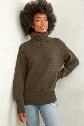 Neely Ribbed Turtleneck Tunic Olive L