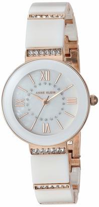 Anne Klein Women's AK/3340LPRG Swarovski Crystal Accented Rose Gold-Tone and Light Pink Ceramic Bracelet Watch