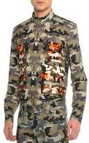 Givenchy Camo-Print Long-Sleeve Shirt, Khaki