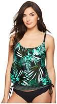 Jantzen Leafy Tropical Blouson D/DD Tankini Women's Swimwear