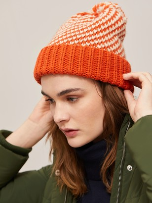 John Lewis & Partners Stitch Pom Pom Beanie Hat, Orange