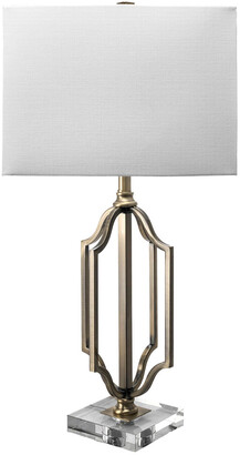 nuLoom 32In Metal Sue Moroccan Frame Linen Shade Table Lamp
