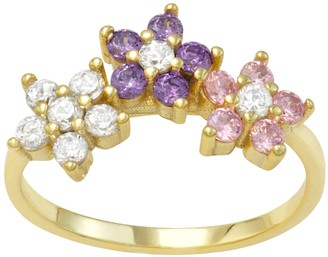 Junior Jewels Kids' 14k Gold Over Silver Multicolor Cubic Zirconia Flower Ring
