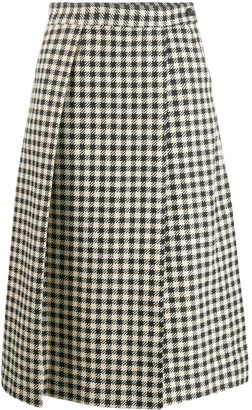 Victoria Beckham Houndstooth Print Pleated Skirt