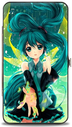 Buckle Down Buckle-Down Hinge Wallet - Hatsune Miku Reaching Out Pose/Music Notes Greens/Yellows