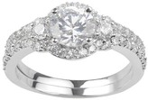 Journee Collection 1 1/2 CT. T.W. Round-Cut CZ Basket Set Halo Wedding Ring Set in Sterling Silver