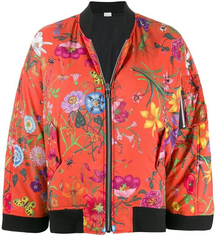 Bomber Jacket Half Rose Floral and Cheetah Print