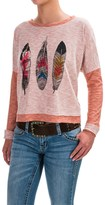 Roper Feather Print Cropped Shirt - Long Sleeve (For Women)