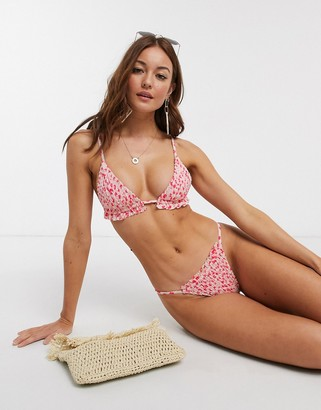 Topshop shirred bikini bottom in pink floral