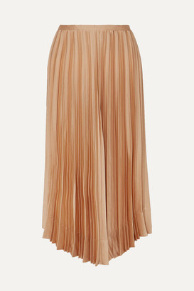 Frankie Shop Chloe Asymmetric Pleated Satin Midi Skirt - Bronze