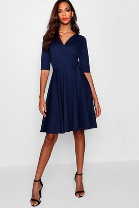 boohoo Tall Wrap & Skater Dress