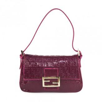 Fendi Baguette Burgundy Patent leather Handbags