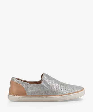 UGG Women's Adley Perf Stardust Slip On Flats Silver Size 6 Leather From Sole Society