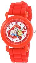 Disney Girl's 'Ariel' Quartz Plastic and Silicone Casual Watch, Color:Red (Model: WDS000145)