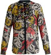 Mary Katrantzou Ruffled-neck silk blouse