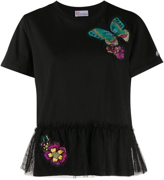 RED Valentino butterfly patches tulle panel T-shirt