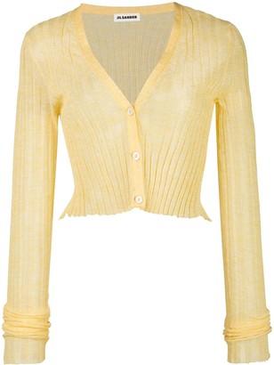 Jil Sander Yellow Semi-sheer Cropped Cardigan