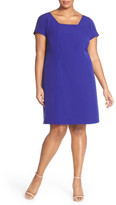 Adrianna Papell Square Neck Crepe Sheath Dress (Plus Size)
