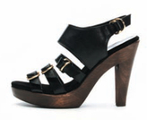 Black Scarlet D-Ring Vachetta Platform Sandal
