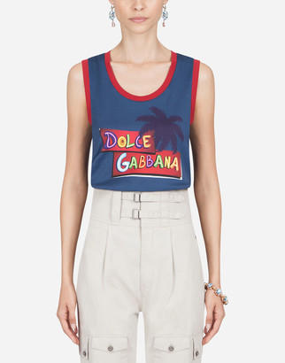 Dolce & Gabbana Jersey Tank Top With Tropical Flavor Print