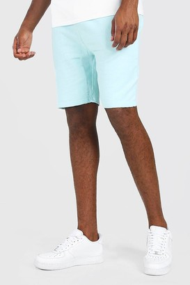 boohoo Mens Blue Mid Length Acid Wash Jersey Short, Blue