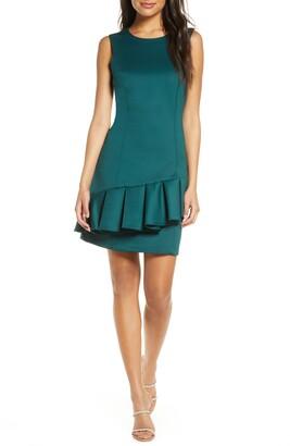 Donna Ricco Round Neck Sleeveless Ruffle Sheath Dress