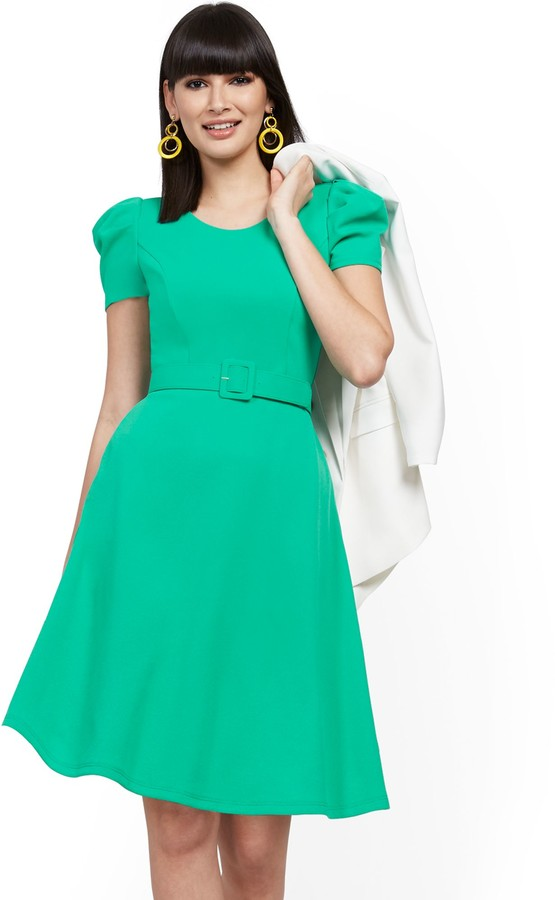 New York & Co. Belted Fit and Flare Dress - Magic Crepe