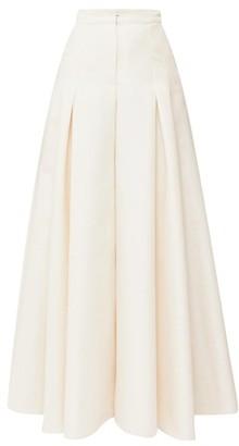 Carolina Herrera High-rise Cotton-blend Canvas Palazzo Trousers - Cream