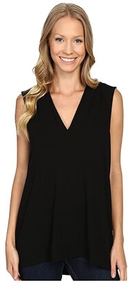 Vince Camuto Sleeveless V-Neck Top (Rich Black) Women's Clothing