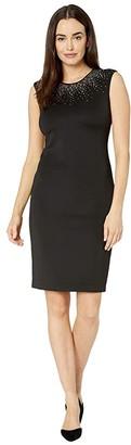 Calvin Klein Embellished Neck Dress (Black) Women's Dress