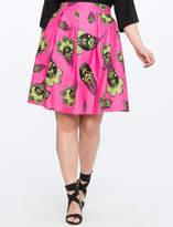 ELOQUII Printed Pleated Midi Skirt