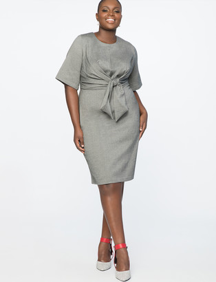 ELOQUII Tie Front Work Dress