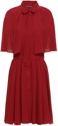 Alberta Ferretti Pussy-bow Fluted Silk-georgette Dress