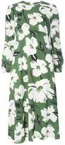 Green Floral Print Midi Dress