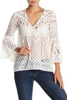 Love Stitch Lace Bell Sleeve Blouse