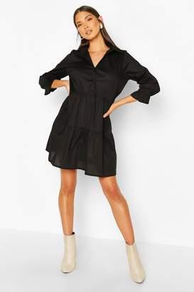 boohoo Short Sleeve Smock Shirt Dress