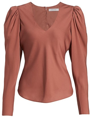 Frame Shirred Puff Sleeve Silk Blouse