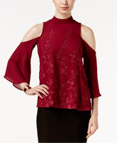 ECI Lace-Appliqué Cold-Shoulder Top