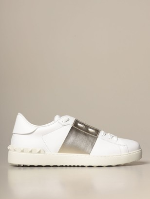 Valentino Open Sneakers In Leather With Band