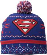 Superman Men's Fair Isle Cuff Pom Beanie